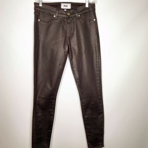 Paige black cherry coated skinny jeans 27